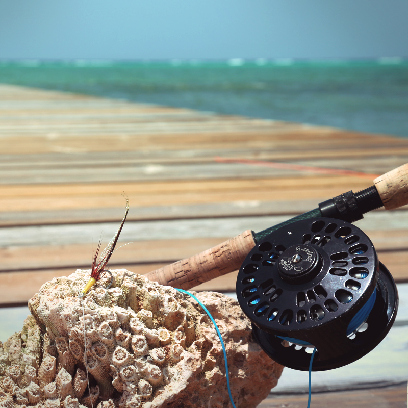 7-Weight bonefish fly rod on dock with Cayman coral.