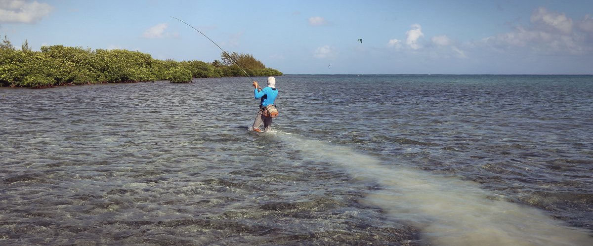 Chasing bonefish on Cayman flats.
