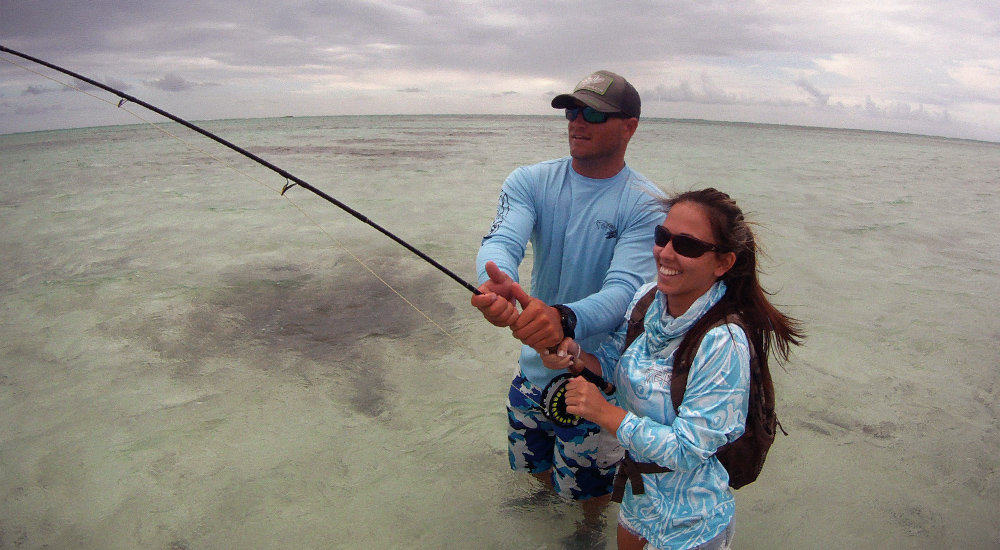 Hooked up to Cayman Bonefish on the Fly